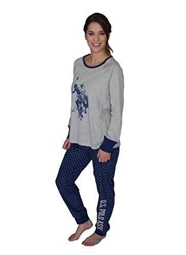 US Polo Assn. Womens 2 Piece Crewneck Style Fleece Long Pajama Top and Pant Set Brunnera Blue Large by U.S. Polo Assn.