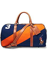 Polo Ralph Lauren Canvas Watch Leather Detail Duffel Bag in Navy Orange