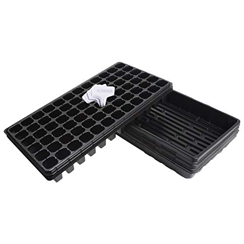- KORAM Seedling Starter Tray - 5 Pack Combo - Seed Germination Kit with Flats & 72 Cell Trays for Planting Seedlings, Propagation, Germination Plugs, Wheatgrass, Microgreens