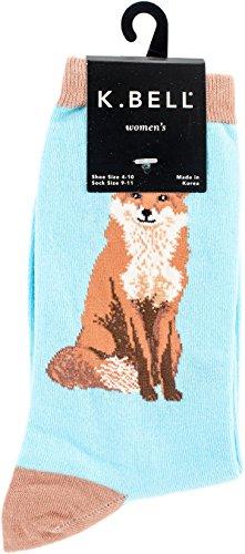 K. Bell Women's Playful Animals Novelty Casual Crew Socks, Fox (Blue), Shoe Size: (Best Fox Compression Socks Runnings)