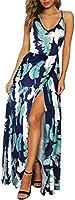 ULTRANICE Womens Summer Floral Adjustable Spaghetti Strap Tie Back Maxi Dress Split