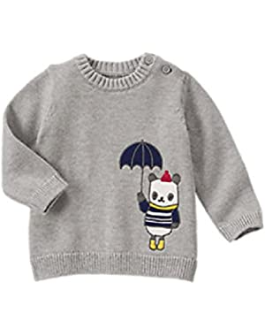 Baby Boy Heather Gray Panda Sweater