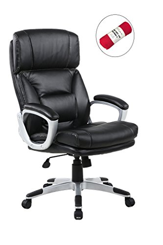 HollyHOME High Back PU Leather Swivel Executive Chair with Build-in Lumbar Pad