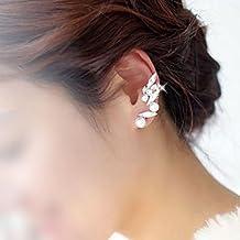 HuntGold 1X Women Girl Lady Earring Crystal Alloy Gold Edge Ear Cuff Ear Lobe Spike Stud