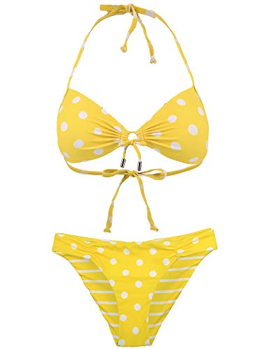 - Women's Halter Bikini Set Swimsuit Bathing Suit with Polka Dots Print Yellow