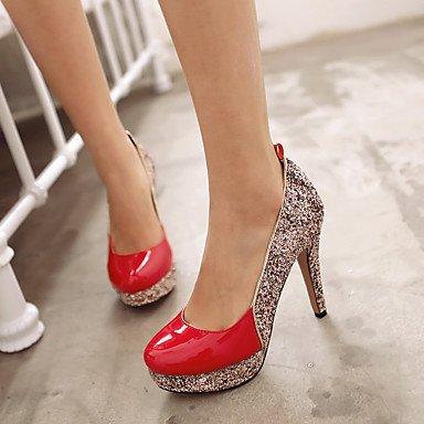 Talones de las mujeres Zapatos Primavera Verano Otoño Invierno club de cuero banquete de boda y vestido de noche de lentejuelas de tacón de aguja Negro Rojo astilla Black