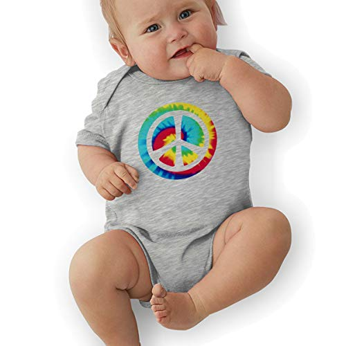 TAOHJS89 Baby Short-Sleeve Onesies Bodysuit Tie Dye Peace Sign Unisex Toddler Clothes Gray - Peace Sign Trendy