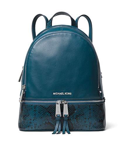 Michael Kors Rhea Medium Leather Backpack (Luxe Teal/Snake) ()