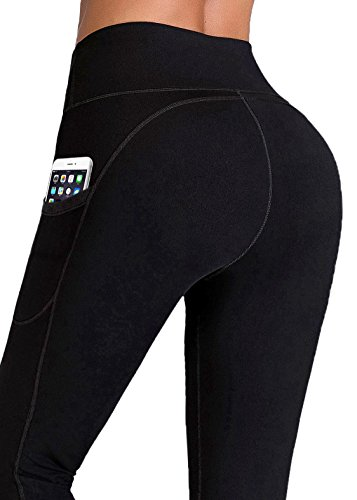 IUGA High Waist Yoga Pants Inner/Out Pocket Design, Tummy Control, Workout Running 4 Way Stretch Yoga Leggings
