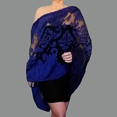 ap Navy Shawl Black Organza Stole By ZiiCi ()