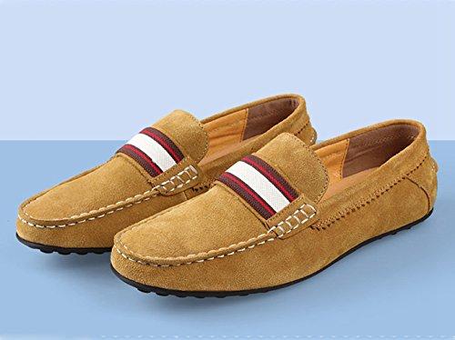 Basse Antidérapant Semelle Léger Hommes Suédé Respirent Loisir Loafers Chaussures Mocassins avec Sangle en Jaune Plat vwPYxrw