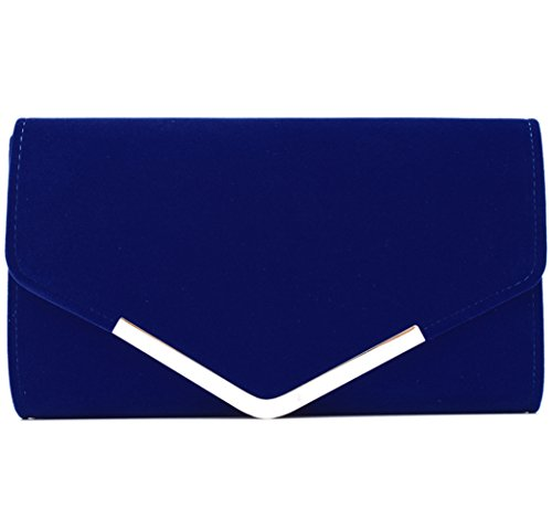 Womens Suede Handbag (U-Story Womens Velvet Bridal Clutch Evening Prom Wedding Shoulder Chain Bag Handbag (Royal Blue))