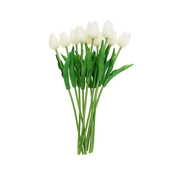 Floral Kingdom Real Touch Artificial Tulips 24′ for Floral Arrangements, Bouquets, Home/Office Decor (Pack of 5) (Ivory White)