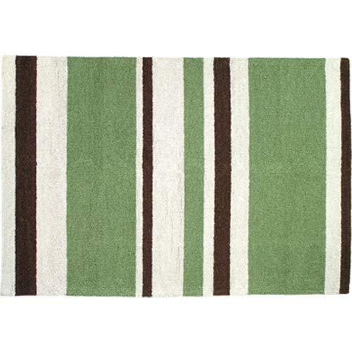 123 Creations Modern Stripe Hook Area Rug, 2' x 3', Green/Brown