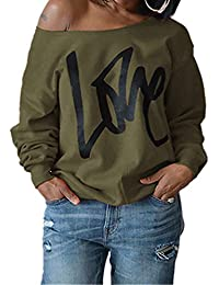 Womens Love Letter Printed Off Shoulder Pullover Sweatshirt Slouchy Tops Shirts
