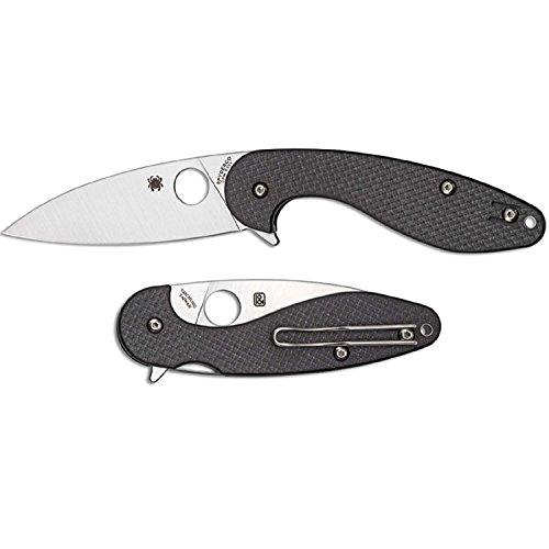 Spyderco Silverax Folder Carbon Fiber/G-10 Plain edge Folding Camping Knives, Black by Spyderco
