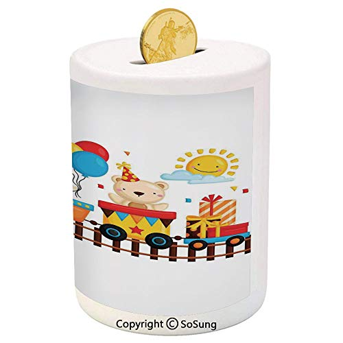 - SoSung Kids Decor Ceramic Piggy Bank,Cartoon Animals on a Train Bunny Teddy Bear Gift Boxes Balloons Party Hat Deco Decorative 3D Printed Ceramic Coin Bank Money Box for Kids & Adults,