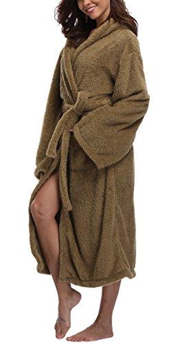 c42131f03f VIKEY Long Hooded Bathrobe for Women s Plush Coral Velvet Robe Soft Pajamas  Shower Nightgown