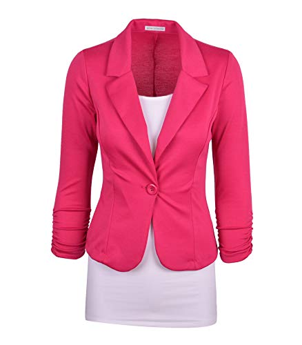 (Auliné Collection Women's Casual Work Solid Color Knit Blazer Hot Pink 1X)