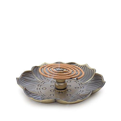 HOUGOO Bronze Lotus Incense Burner Holder(Stick/Cone/ Coil Incense)