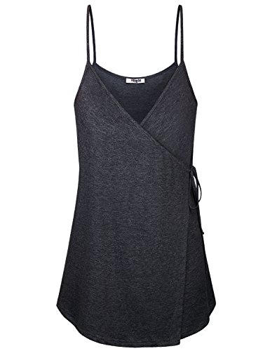Hibelle Tunic Tank Tops for Women, Juniors Cami Loose Fitting Spaghetti Strap Sleeveless V Neck Shirts Casual Summer A Line Flare Swing Camisoles Layered Belted Attires Black XXL ()