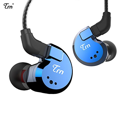 TRN V80 2BA+2DD Quad Driver Hybrid HIFI Metal In Ear Earphone IEM With 2 Pin Detachable Cable, 1.25m (Without Mic, Blue)