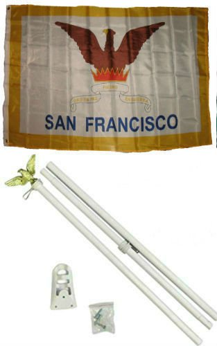 ALBATROS 3 ft x 5 ft City of San Francisco California Flag White with Pole Kit Set for Home and Parades, Official Party, All Weather Indoors Outdoors ()