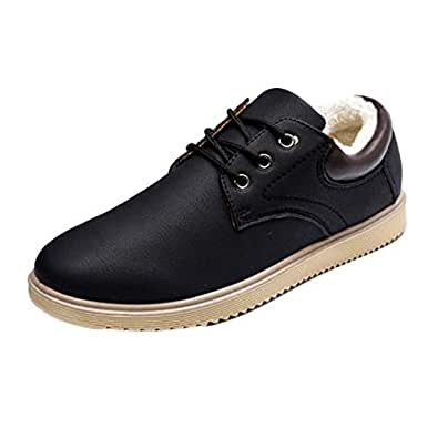 Fulision Men's Winter Keep Warm Leather Casual Walking Lace-up Cotton Shoes Black