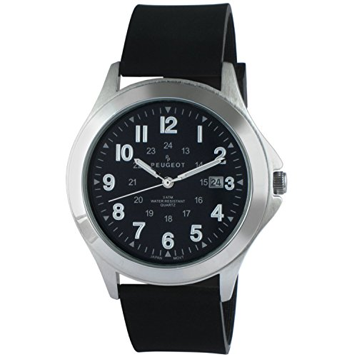 (Peugeot Mens 24 Hour Army Military Stainless Black Rubber Band Watch Ideal For Expedition 1017M)