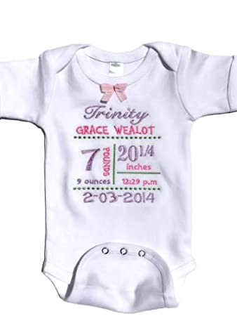 Amazon baby gifts for newborn girls personalized baby onesie baby gifts for newborn girls personalized baby onesie with birth info6 12mos negle Image collections
