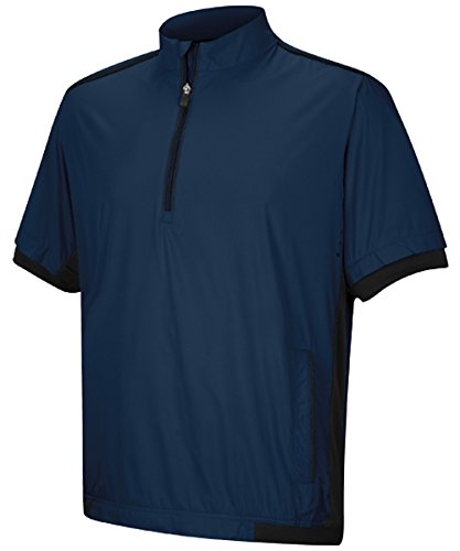adidas Golf Men's ClimaProof Short Sleeve Windshirt, Rich Blue/Black, Medium