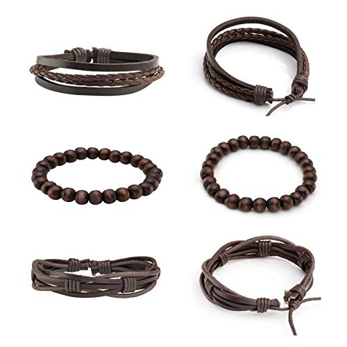 3ff4851609b27 Milakoo 10 Pcs Braided Leather Bracelet for Men Women Wooden Beaded  Bracelets Wrap Adjustable