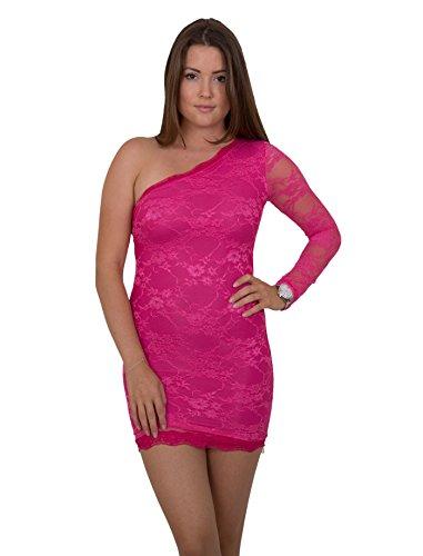 Sexy Designer One Shoulder Minikleid Asymmetrisches Abend-Kleid Dress mit Spitze in verschiedenen Farben Rosa