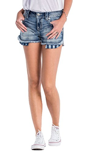 Miss Me Women's Indigo Flag Pocket Shorts Indigo 26
