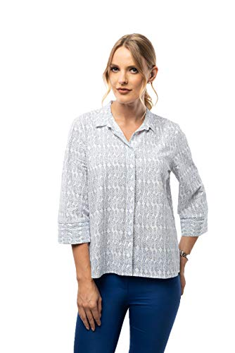 FOCHA Women's Three Quarter Sleeve Patterned Button Down Shirt Top Medium (Shirt Woven Sleeve)