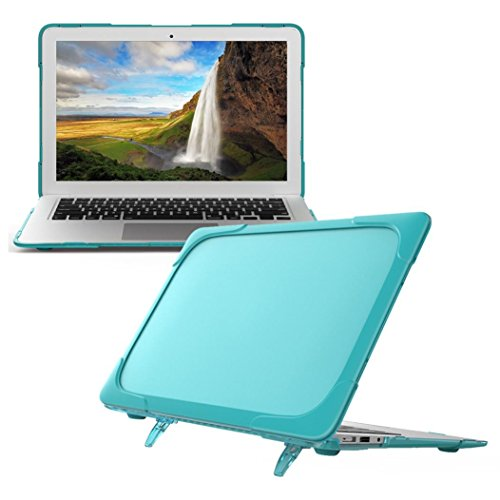 Coohole Kickstand Crystal Hard Protective Case Cover Skin For Apple Macbook AIR 13-Inch A1369 A1466 (Light Blue)