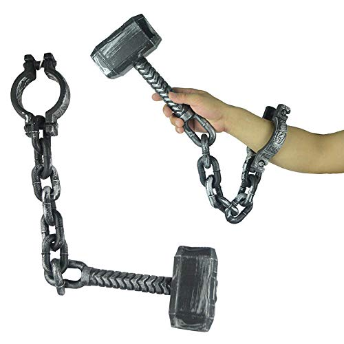 (Halloween Chain Props Prisoner Chain Plastic Hook Hammer Bracelet Anklets Toys for Halloween Party, Coffee, Home Table Decoration)