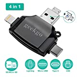 geekgo SD Card Reader for Apple iPhone iPad Android Phone MacBook Computer,Memory Card Adapter with USB C, Type C, Micro USB,Trail Camera Viewer(Black)