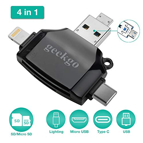 geekgo SD Card Reader for Apple iPhone iPad Android Phone MacBook Computer,Memory Card Adapter with USB C, Type C, Micro USB,Trail Camera Viewer(Black) from geekgo