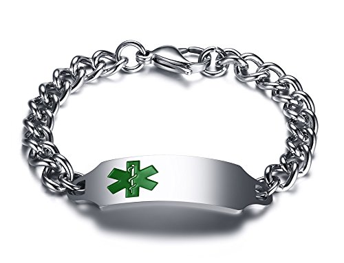 PJ Jewelry Free Engraving Men's Stainless Steel ID Tag Medical Alert Link Chain Identification ()