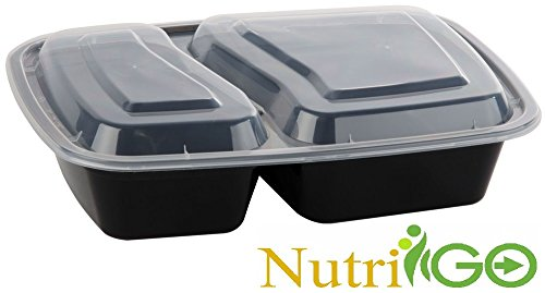 Pack of 150 | 32 Oz. 2 Compartment Black Food Container with