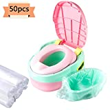 Xgood 50 Packs Potty Liners Disposable Travel Potty Chair Liners with 5 Rolls Drawstring Training Toilet Seat Potty Cleaning Bags for Kids Toddler Travel: more info