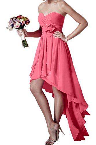 ivyd ressing Mujer Hi-Lo Forma de Corazón Flores gasa vestido de fiesta Prom vestido fijo para vestido de noche Rosa