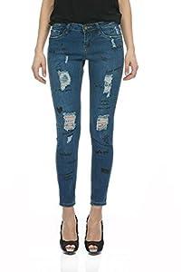 Suko Jeans Women's Denim Pants – Skinny Fit – Ripped - Printed Graffiti