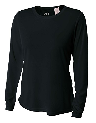 - A4 Women's Cooling Performance Crew Long Sleeve T-Shirt, Black, Large