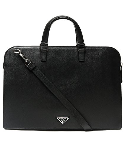 Wiberlux Prada Men's Two-Way Carry Real Leather Zippered Briefcase One Size - Prada Classic Bags