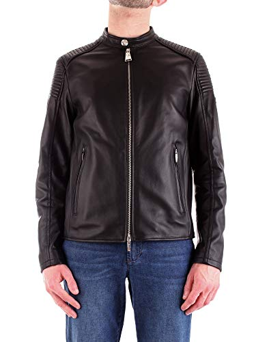 Cesare Paciotti 4Us Men's Ta1413nero Black Leather Outerwear Jacket