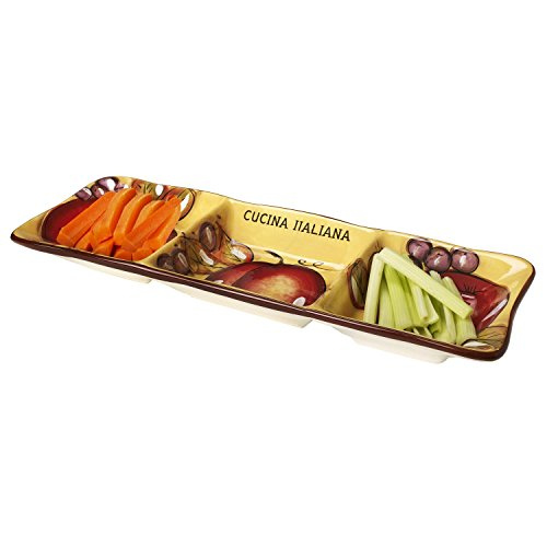 Cucina Italiana Ceramic Serving Cucina Italiana Ceramic Serving Platter 3 Section Rectangle Dividend Dish For Appetizers,18 Inches ()