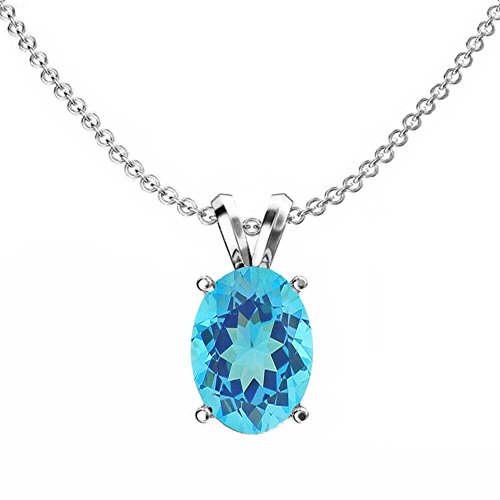 14K White Gold 9x7 mm Oval Cut Blue Topaz Ladies Solitaire Pendant (Silver Chain (Topaz 14k White Gold Necklace)