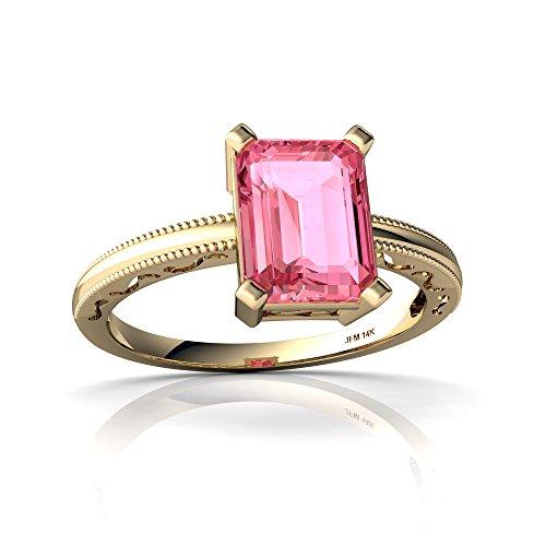 Emerald 14kt 6x4 Gold (14kt Yellow Gold Lab Pink Sapphire 8x6mm Emerald_Cut Milgrain Scroll Ring - Size 6.5)